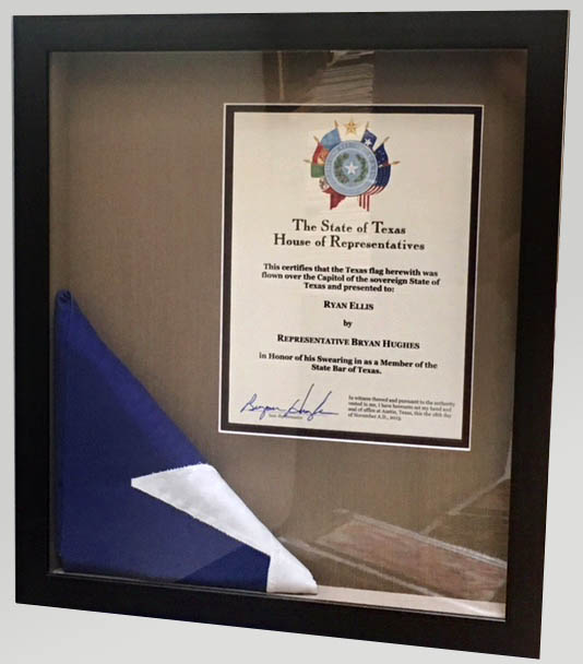 Display Framing - Flag & Certificate - Fastframe Houston Picture Framing