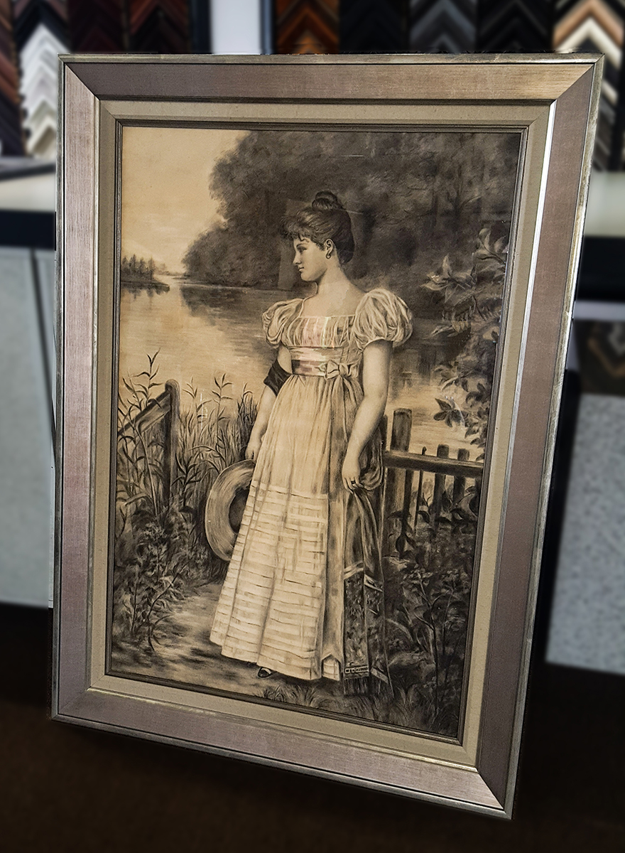 Custom picture frame for charcoal drawing