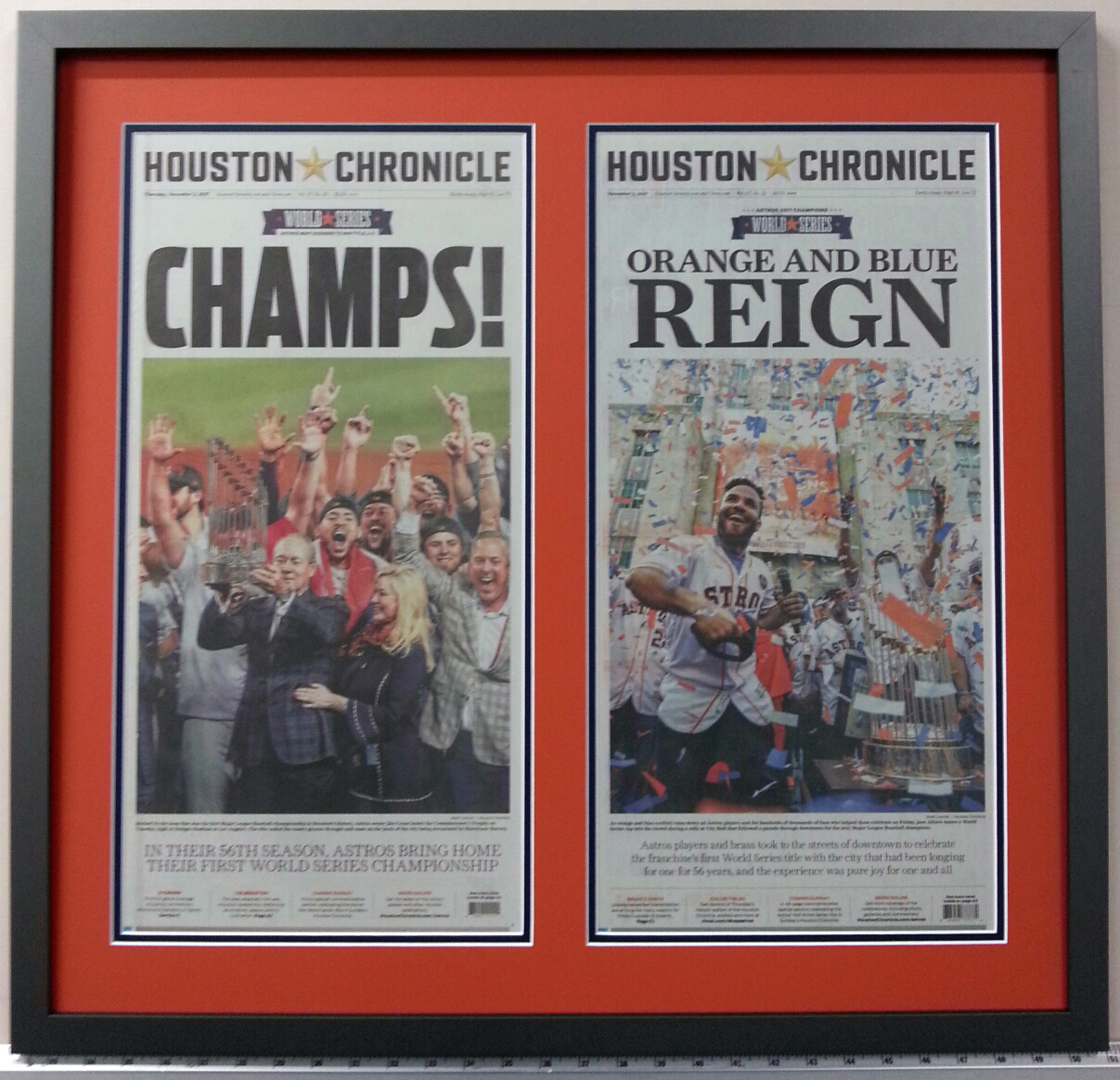 Framed Astros Headlines - Fastframe Houston Picture Framing